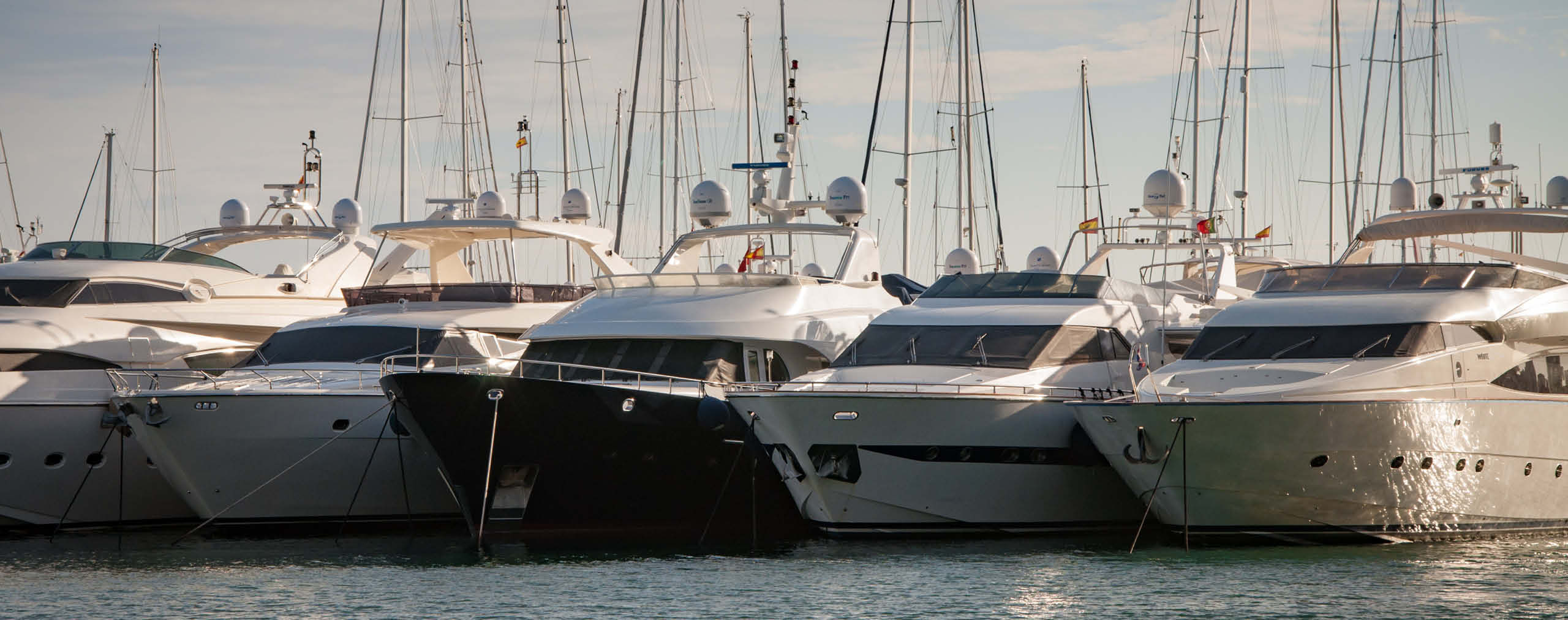 Lots of yachts lined up