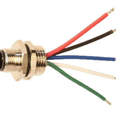 NMEA 2000 Connector - Rear Panel Mount - Wired 5pin micro Male - A2K-PMW-M
