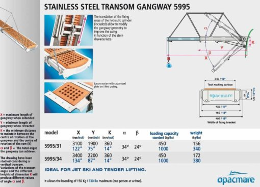 Opacmare Stainless Steel Transom Passerelle 5995