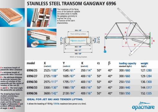 Opacmare Stainless Steel Transom Mount Passerelle 6996